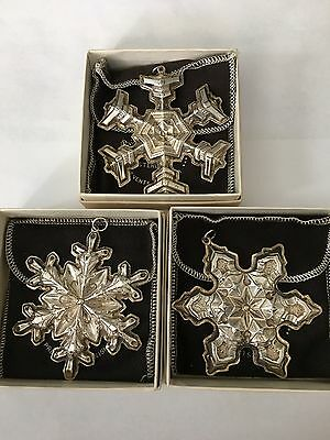 Vintage Gorham Sterling Silver Set of 3 Snowflakes Christmas Ornaments 65g