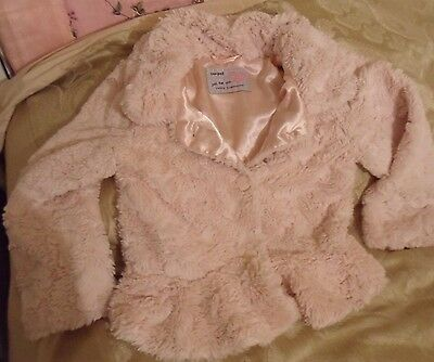 girl's pink faux fur jacket size6-7 from YOUNG DIMENSION