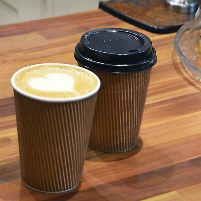 Disposable Coffee / Tea / Hot Drinks Ripple Paper Cup & Lid - 12oz 340ml - x100