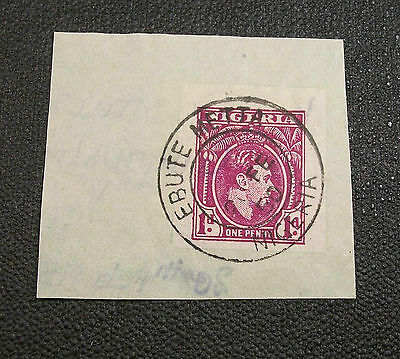 EBUTE METTA CANCEL Nigeria Stamp One Penny Cover Fragment 1930-1940 Clear Full