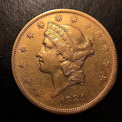 1884 S Liberty Head Gold $20 Double Eagle AU About Uncirculated Twenty Dollar