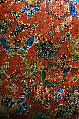 Copper Red Hexagon Butterfly Ume Vintage Japanese Kimono Silk Quilt Fabric 78""