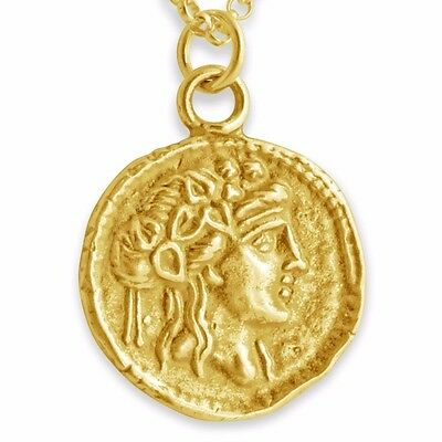 Athena Greek Coin Charm Pendant #14K Gold Plated Sterling Silver #Azaggi P0148G
