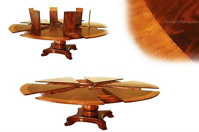 Extra Large Round Mahogany Jupe Table Seats 8 - 12 People, Expandable to 100""