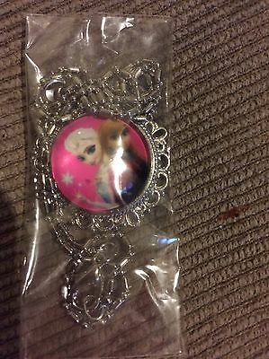 Brand New Disney Frozen Silver Plated Necklace With A Free Little Pink Gift Bag