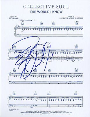 """Collective Soul - Autographed """"The World I Know"""" Sheet Music - Ed Roland"""