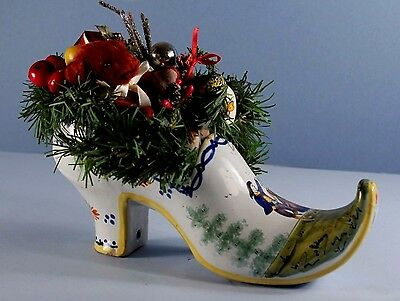 Large Country French Faience 19th c QUIMPER SABOT Shoe Filled for CHRISTMAS #1