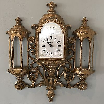VIntage Gold Burwood New Haven Wall Clock Hollywood Regency Syroco Homco EUC