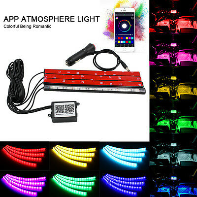 4in1 Car Atmosphere RGB Light Lamp Strip App Music Control for iphone Android