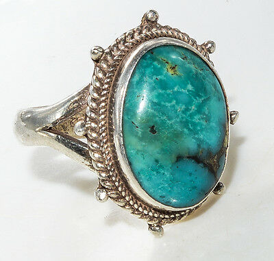 Sterling Silver Ethnic Asian Vintage Style Turquoise Stone Ring Size O 1/2 Gift