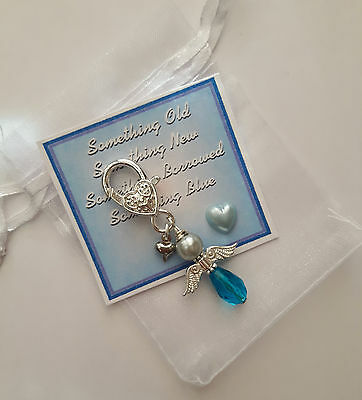 Something Blue Angel Charm wedding Gift GARTER/BOUQUET BRIDAL lucky