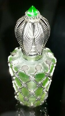 Ornate Chinese Jade Green Snuff Bottle Caged Silver Overlay Casing