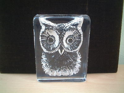 French Glass Block Owl Ornament by Daum , France.  Fully Signed.