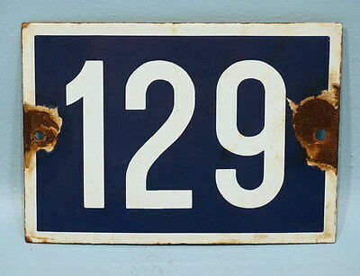 Antique French Porcelain Enamel Blue White Painted Iron Number Plaque Sign 129