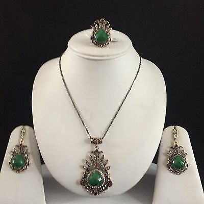Green Gold Vintage Mughal Costume Jewellery Pendant Necklace Earrings Ring Set N