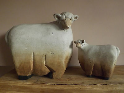 2 French Country Style Rustic  Pottery Clay Ewe & Lamb Sheep Figurine Ornaments
