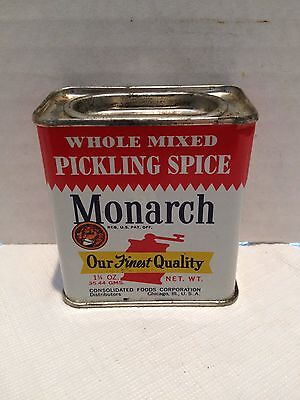 Vintage Monarch 1 1/4 OZ. Whole Mixed Pickling Spice Tin - Chicago, Ill.