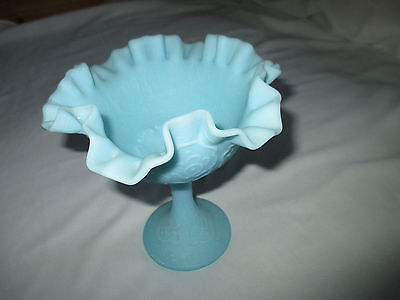 Vintage Fenton Persian Medallion Satin Blue Custard Glass Compote Candy Dish