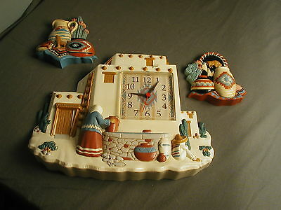 3 Pc Wall Display - Southwestern Motif With Battery Clock - Hard Plastic - Usa