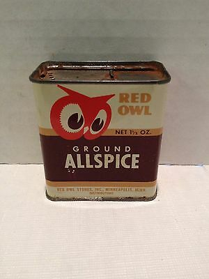 Vintage Red Owl 1 1/2 OZ. Ground Allspice Spice Tin - Red Owl Stores Inc.
