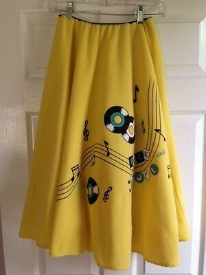 50's Style Yellow Record Rock 'n Roll Poodle Skirt Halloween Costume ~ CUTE!