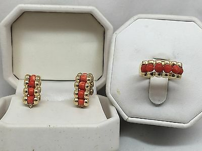 Vintage Coral 18K Yellow Gold Set Ring & Earrings