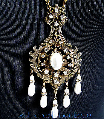 Vintage Art DECO Nouveau Victorian Filigree BAROQUE Statement Necklace Antique