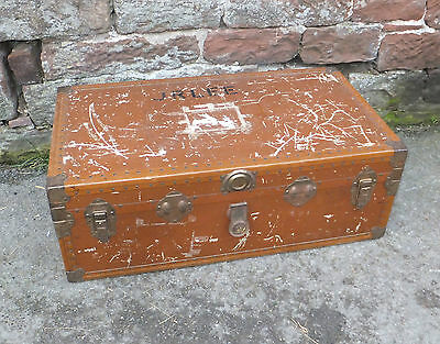 LARGE Steamer CABIN TRUNK Suitcase CHEST Decorative VINTAGE Coffee TABLE Brass