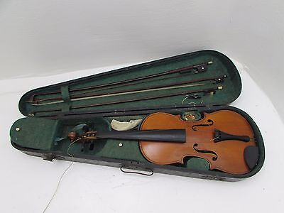 Very Old Full Size Violin Complete With 3 Bows & Wooden Carry Case