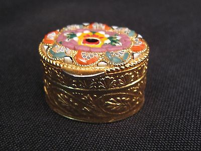 Micro Mosaic Pill Box Trinket  Floral with Gold Tone Metal Italy Italian oval