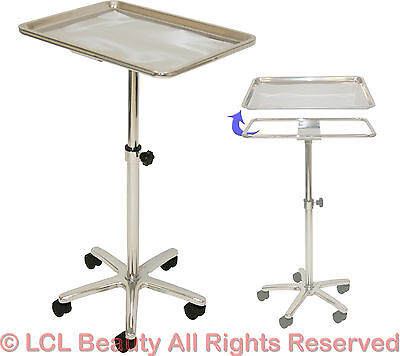 LCL Beauty Extra Large Chrome Steel Single-Post Mayo Instrument Stand Work Tray