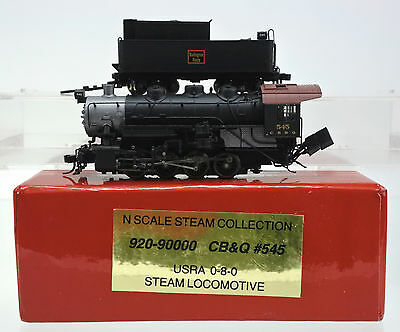 Walthers N Scale 920-9000 Cb&q Usra 0-8-0 Steam Engine & Tender #545