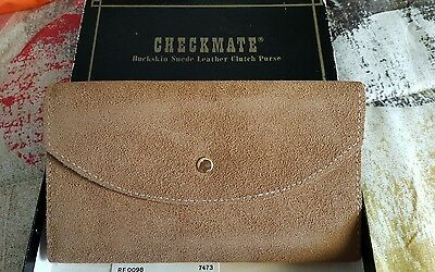 Checkmate buckskin suede leather clutch purse