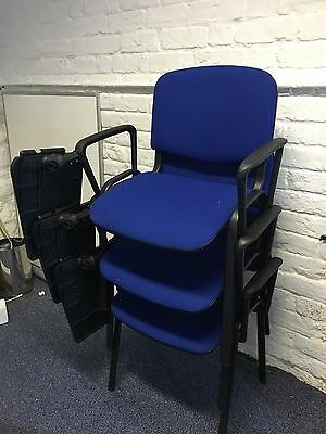 Ten Blue Writing Chairs With Study Arm Table