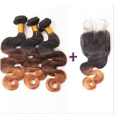 "Brazilian Virgin Hair Body Wave 12""14""16&12 Closure,(350g)1B/4/30 OMBRE FASTSHIP"