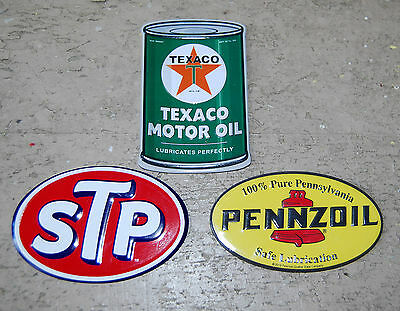 Set of 3 NEW retro-style MOTOR OIL metal advertising magnets with FREE SHIPPING