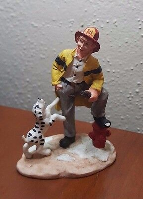 Coca Cola Town Square Collection Firefighter With Dalmatian Fireman 1994