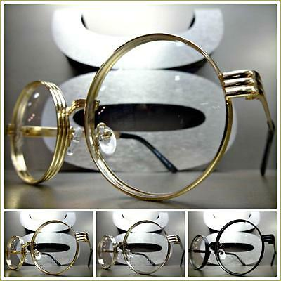 New CLASSIC VINTAGE RETRO Style Clear Lens EYE GLASSES Round Metal Fashion Frame