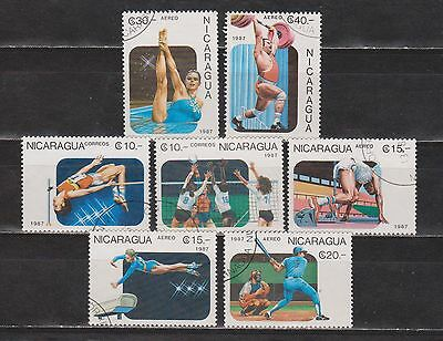 Nicarágua - 1987 - Pan American Games - 7 Different Stamps