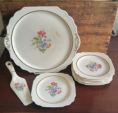 Early American by Harker 8 Piece Floral & Gold Trim Cake Serving Set / Box 40