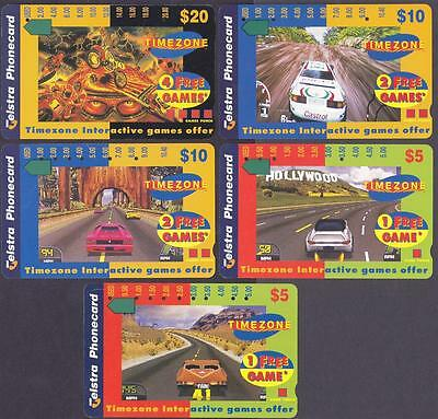 *PHONECARDS.USED.LOT OF FIVE TIMEZONE CARDS.Multihole.Collector clearance.*