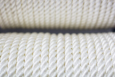 Nylon 3 Strand Twisted Rope 12mm x 25 metres, White
