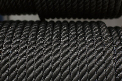 Nylon 3 Strand Twisted Rope 12mm x 25 metres, Black