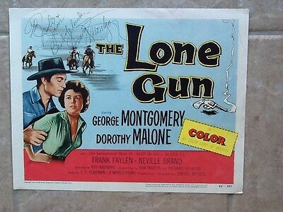 George Montgomery  SIGNED Title Lobby Card 1954  The Lone Gun
