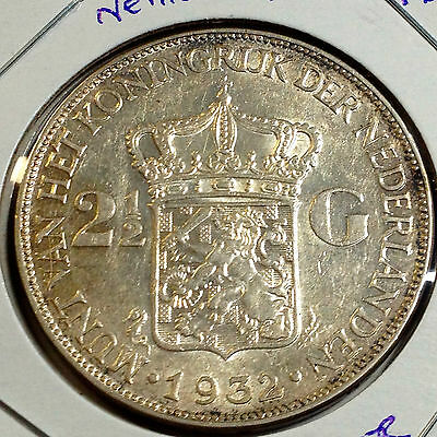 1932 Netherlands 2 1/2 Guldens Silver Crown Higher Grade  Beauty