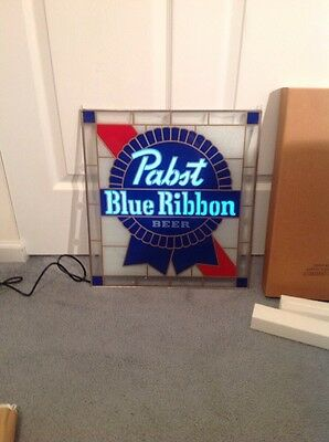 Pabst Blue Ribbon Stained Glass Effect Sign Chain New Vintage Beer Lights Up