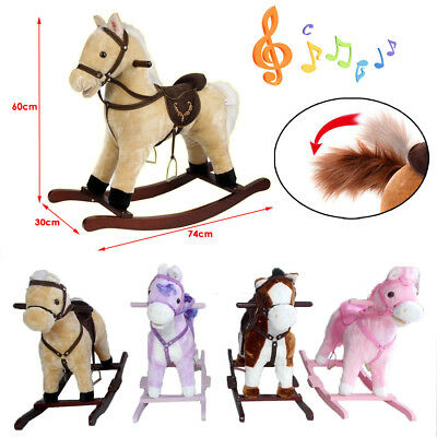 Children Kids Ride on Rocking Horse Pony Play Toy Rocker Wood Nursery Rhymes