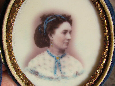 hand colored victorian woman milk glass opalotype photograph
