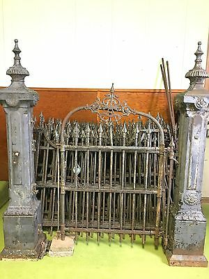 60 ft ANTIQUE WROUGHT IRON FENCE & 3 POST AND GATE.  ARCHITECTURAL SALVAGE