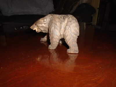 antique swiss black forest hand carved grizzly bear